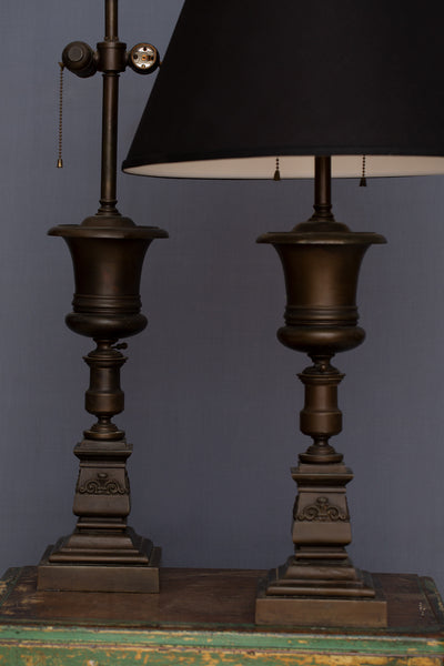 Pair of Bronze English Lamps