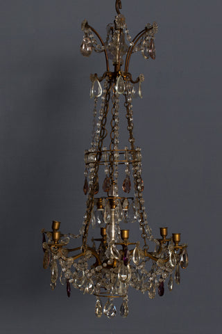 French 19th Century Gilt Bronze & Crystal Candle Chandelier