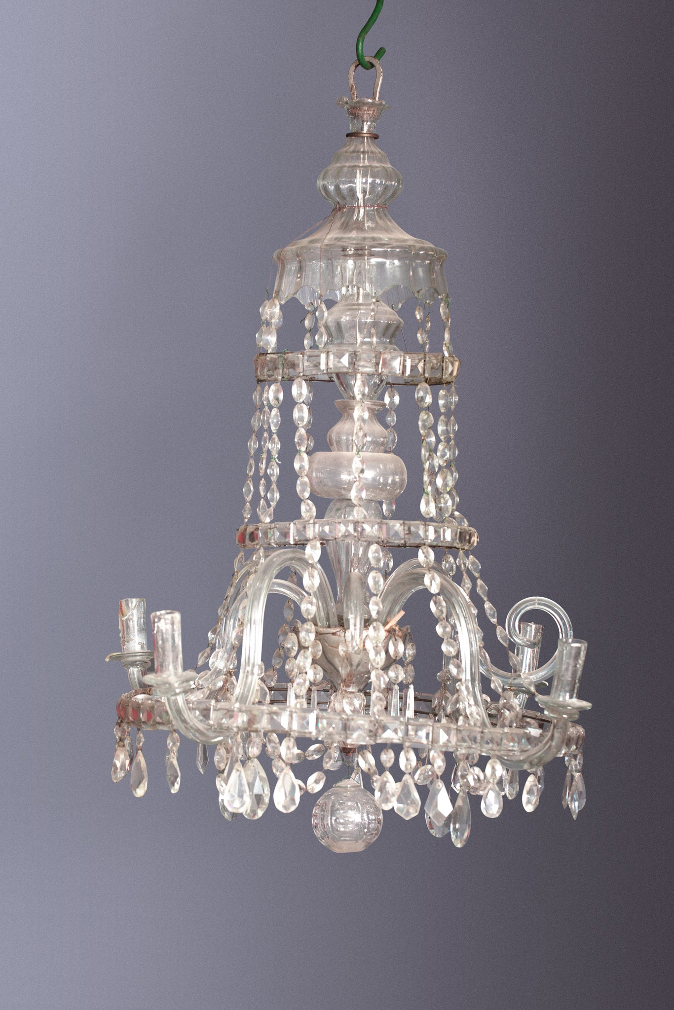 18th Century French Crystal Chandelier with Blown Arms & Cups