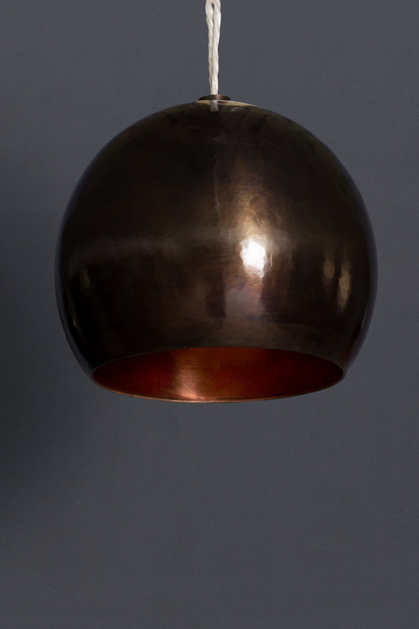 Small Bronze Hammered Pendant Light with a Polished Copper Interior