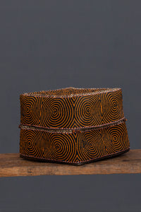 Extra Large Orange & Black Beaded Offering Box From Sumatra