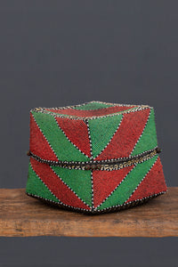 Extra Large Red & Green Beaded Offering Box from Sumatra
