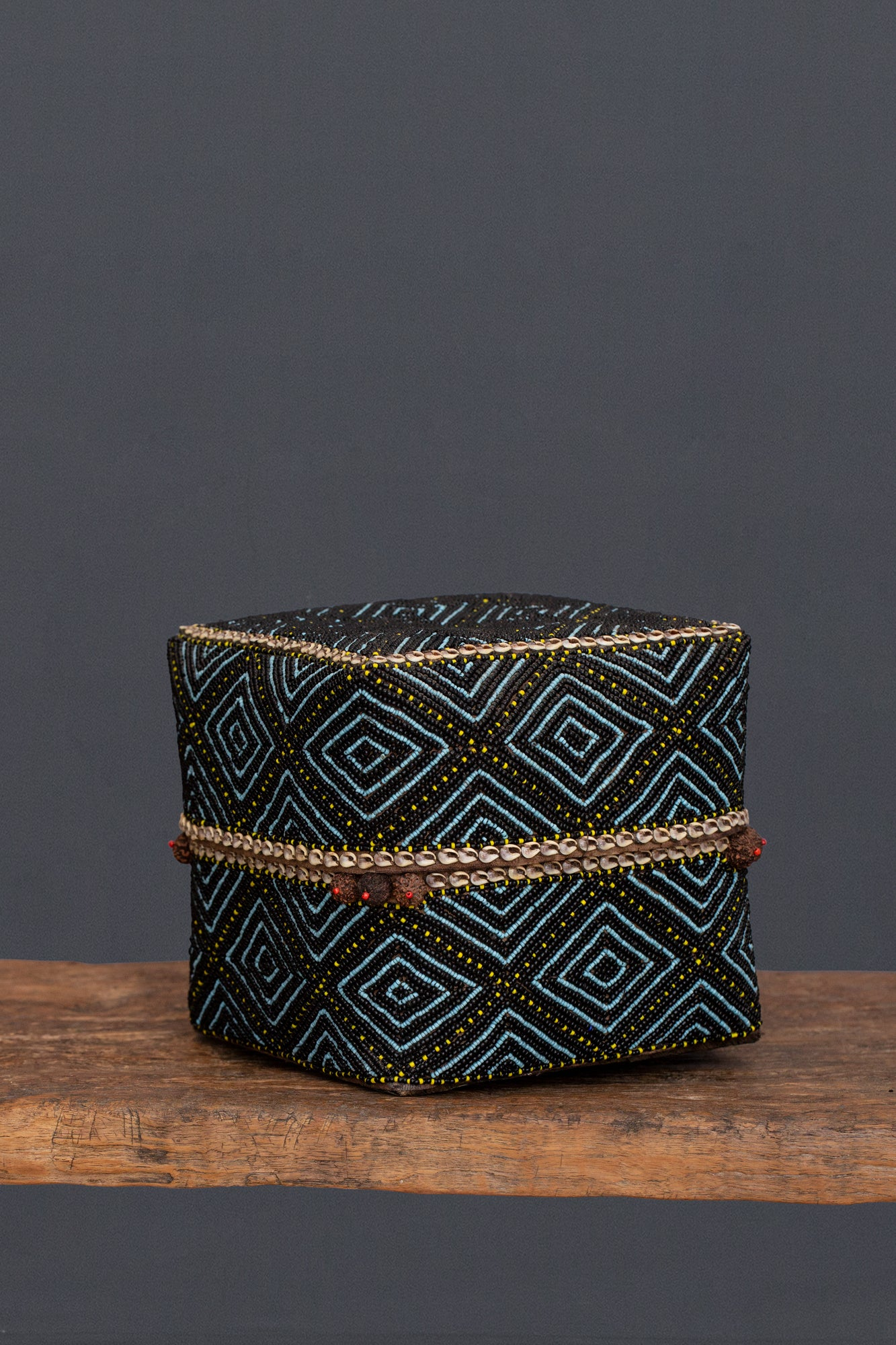 Large Blue & Black Beaded Offering Box from Sumatra