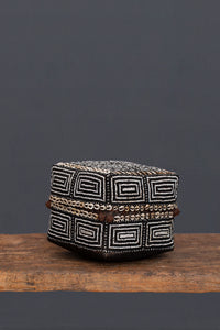Medium Black & White Beaded Offering Box from Sumatra