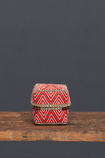 Medium Red & White Beaded Offering Box from Sumatra