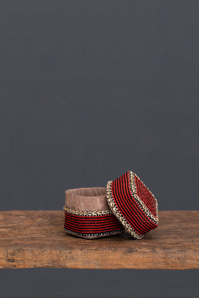 Small Red Beaded Offering Box from Sumatra