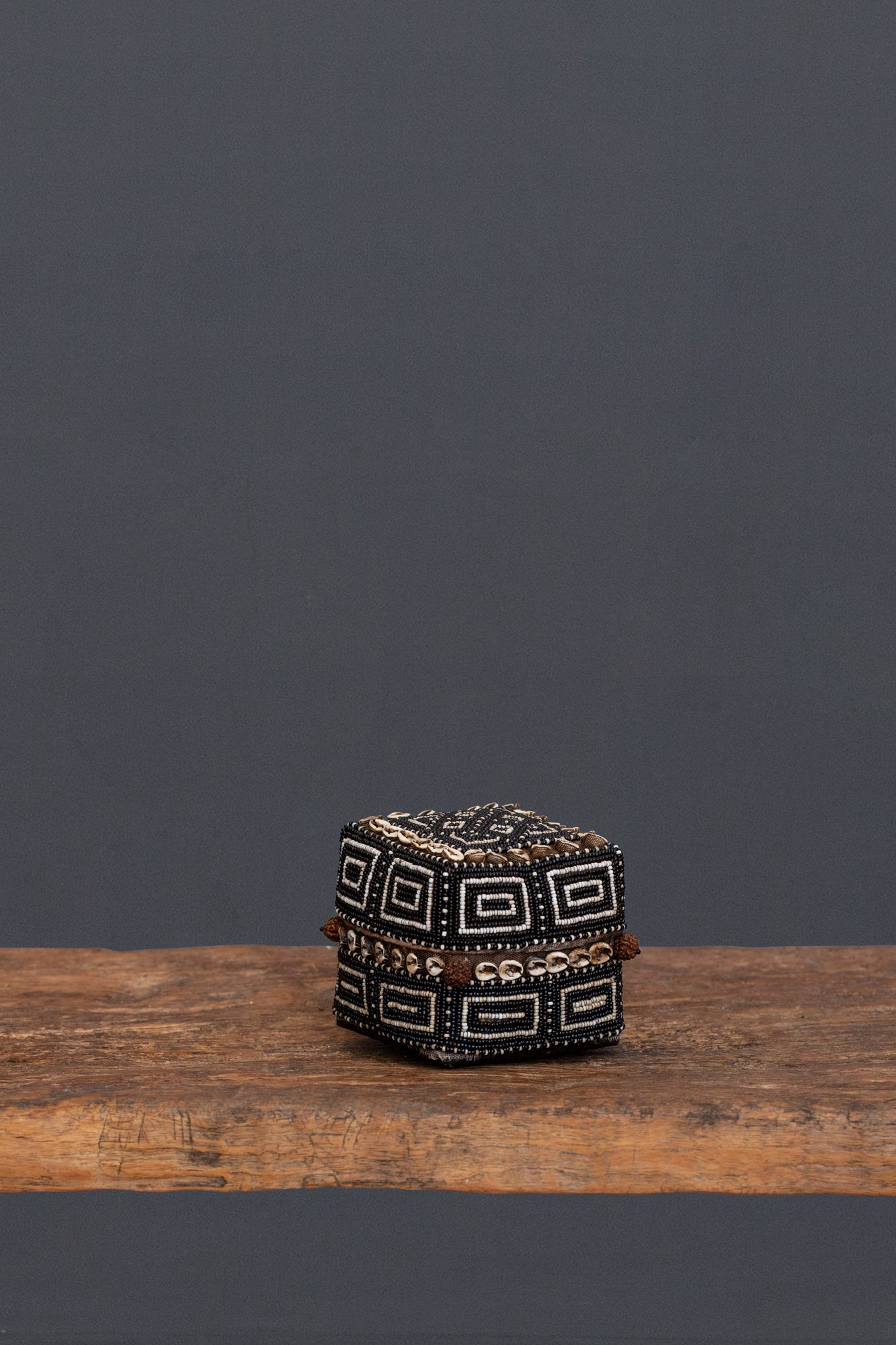 Small Black & White Beaded Offering Box from Sumatra