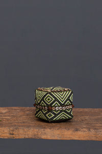 Small Green & Black Beaded Offering Box from Sumatra