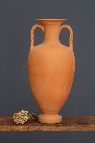 Large Greek Terra Cotta Footed Amphora with Braided Handles
