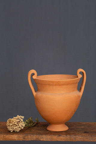Broad Mouth Doubled Handle Greek Terra Cotta Krater