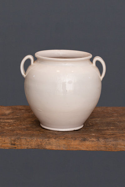 19th Century French White Glazed Confit Jar