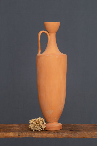 Tall Terra Cotta Footed Greek Amphora