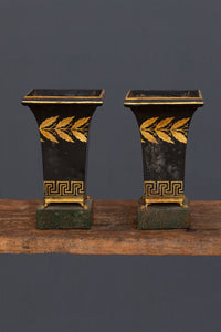 Pair of Neo Classic Painted Tole Mantle Garnitures