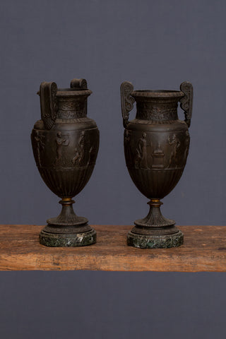 Pair of 19th Century French Base Metal Neoclassic Urns