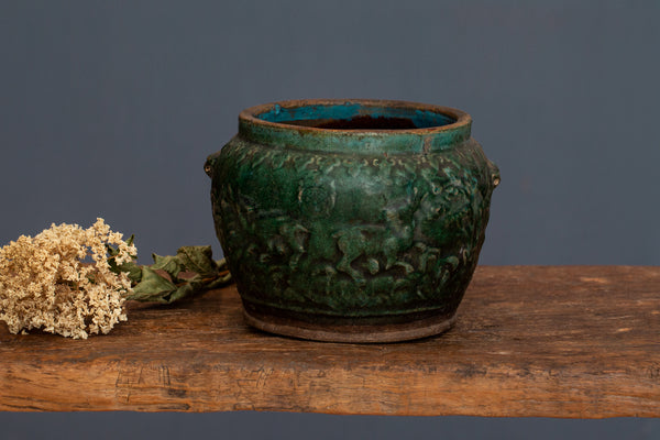 Late 19th - Early 20th Century Green Glaze Borneo Storage Jar