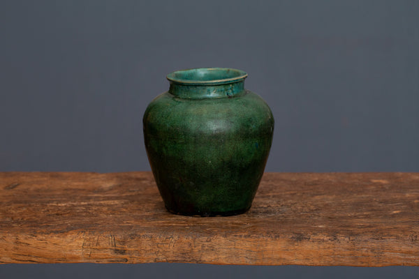 19th Century Ginger Jar Shaped Green Glaze Borneo Storage Jar