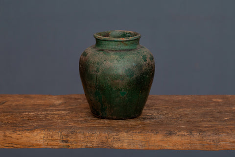 19th Century Green Glaze Borneo Storage Jar
