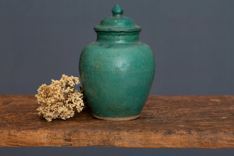 19th Century Blue/Green Glazed Borneo Storage Jar with Lid
