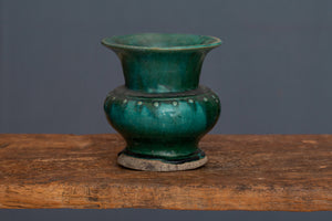 Medium Size 19th Century Green Glaze Spitoon from Borneo
