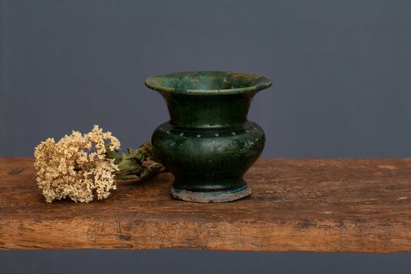 Small Size 19th Century Green Glaze Spitoon from Borneo