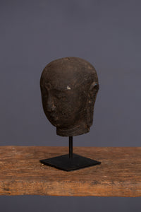 Large Mounted Carved Lava Stone Head of Buddha