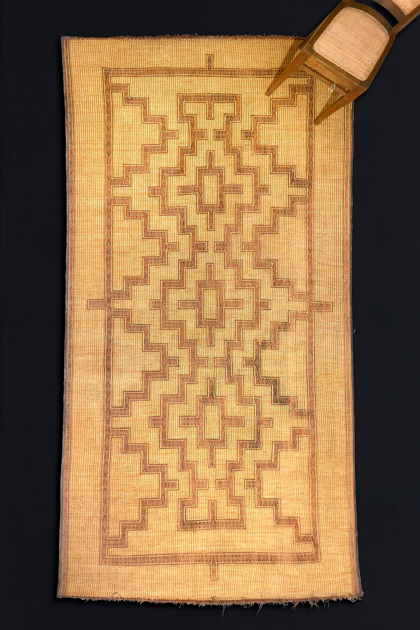 "Leather and Reed Touareg Mat from North Africa (6' 8"" x 13' 3"")"