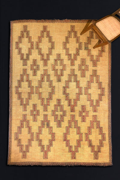 "Leather and Reed Touareg Mat from North Africa (6' 5"" x 13' 3"")"