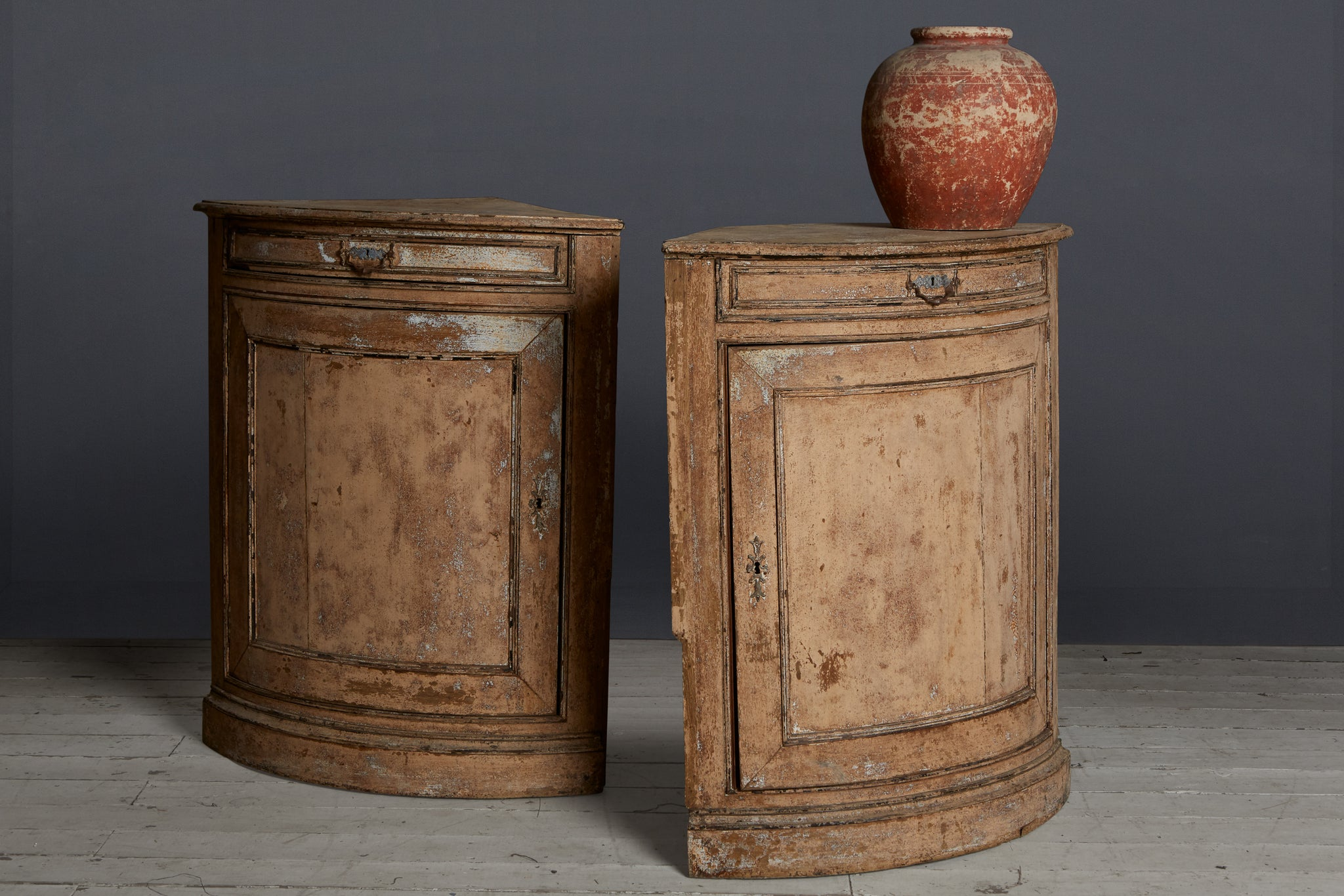 Pair of 18th Century French Painted Corner Cabinets