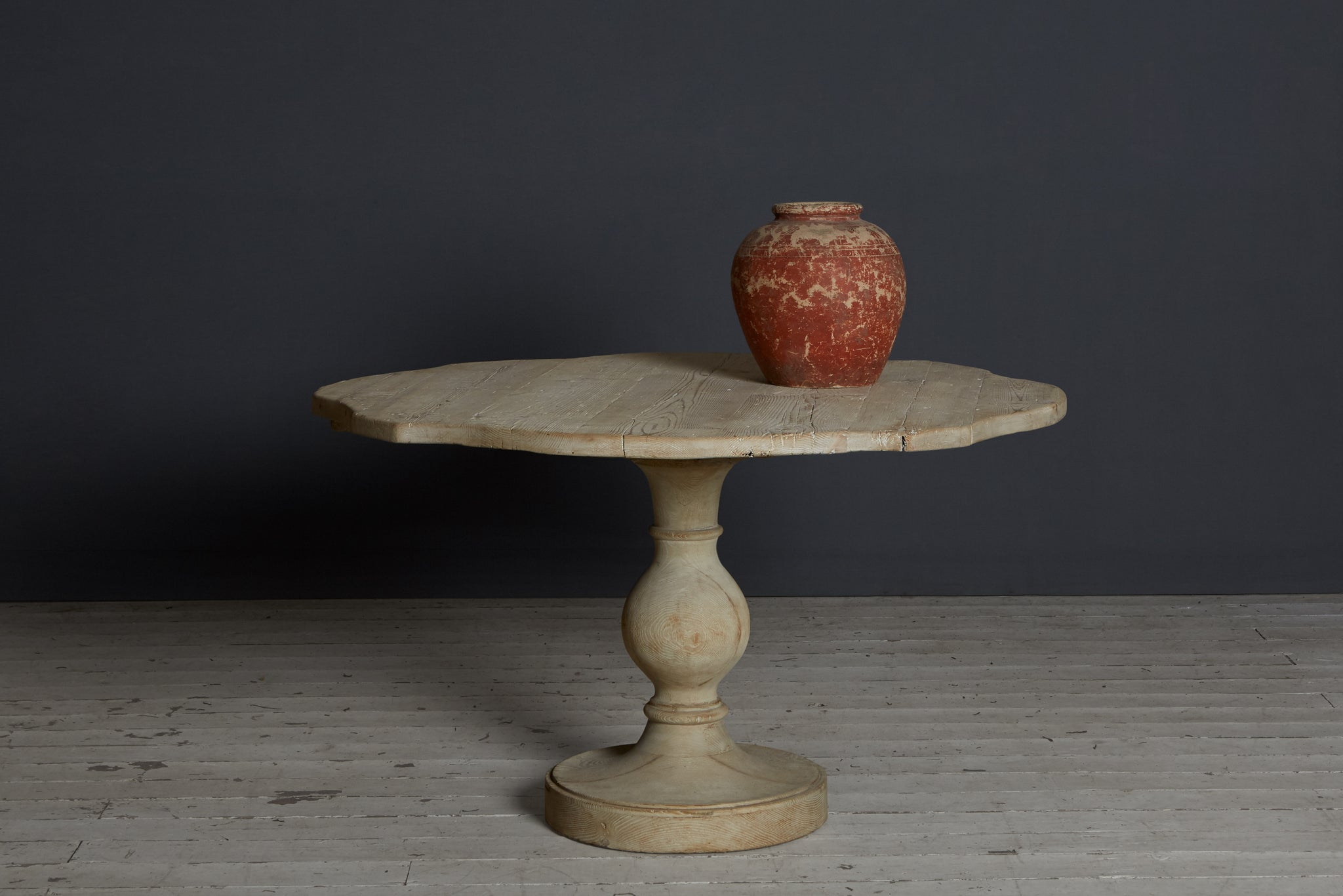 Italian White Washed 19th Century Pedestal Table