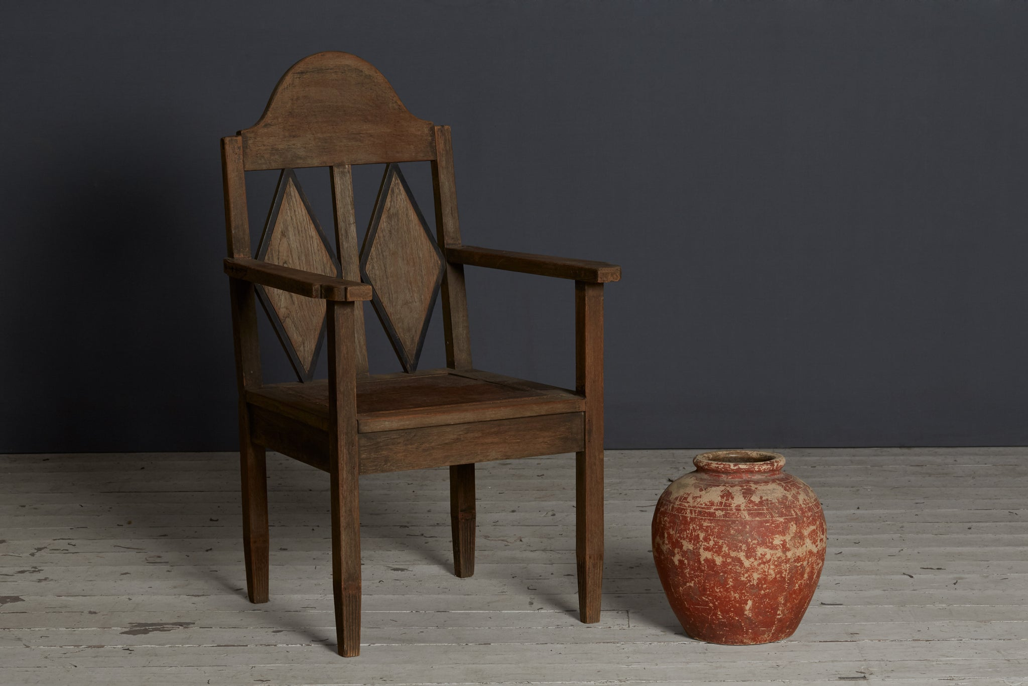 19th Century Dutch Colonial Diamond Back Teak Chair from Java