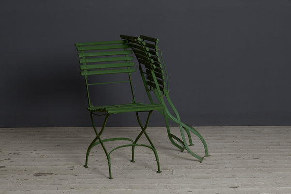 Pair of French 1930's Folding Iron & Wood Park Chairs