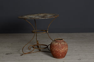 19th Century French Iron Bistro Table with Scroll Legs
