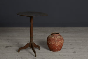 19th Century Dutch Colonial Teak Candle Stand with Shaped Top