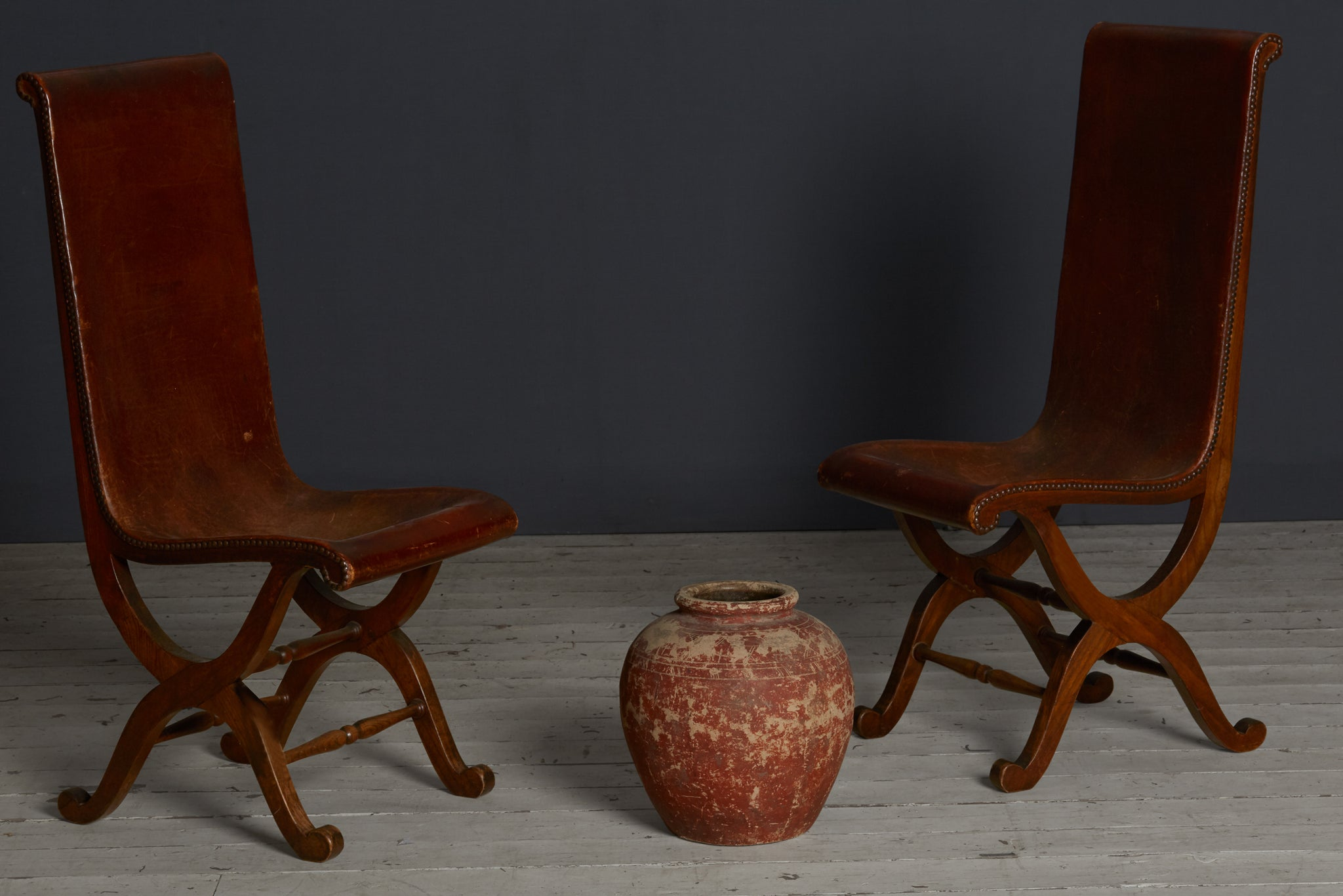 Pair of 19th Century English Leather & Walnut Side Chairs
