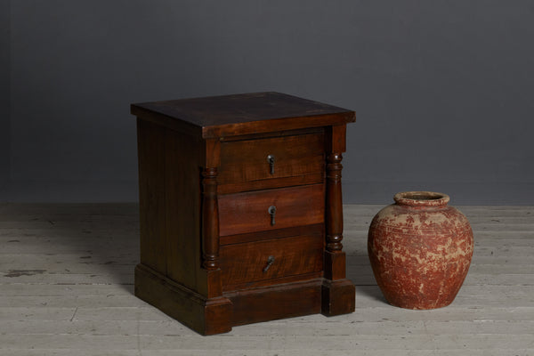 Teak 3 Drawer Colonial Night Stand