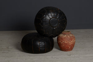 Tunisian Black Leather Pouf with Brown Stitching