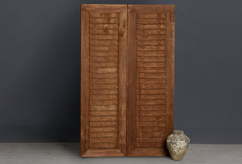 Late 19th Century Pair of Teak Doors with Carved Louvers from Java