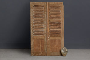 Pair of Late 19th Century Louvered Teak Doors from Jakarta