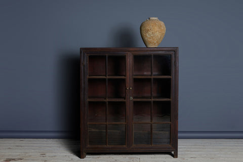 19th Century Teak Colonial Apothecary Cabinet with a Glass Front