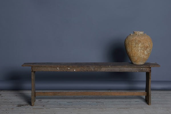Dutch Colonial Flat Topped Teak Bench with Shaped Ends