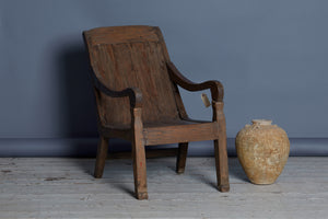 Dutch Colonial Teak Lounge Chair with Scrolled Arms