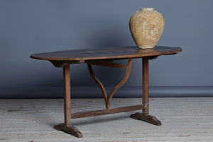 19th Century Oval French Cherry Wine Tasting Table