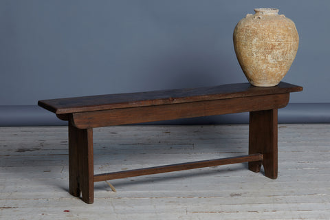 19th Century Flat Top Dutch Colonial Bench with Solid Ends