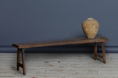 Thick Top Primitive Teak Bench