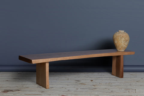 Natural Edge Teak Coffee Table Bench with Solid Ends