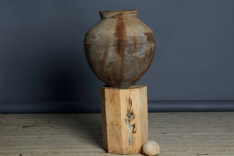 19th Century Terra Cotta Water Jar with Two Twisted Bands