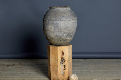 19th Century White Washed Sumatran Water Jar with Two Twisted Bands