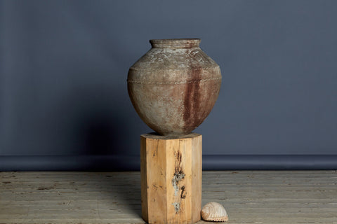 Double Banded 19th Century White Washed Water Jar from Sumatra