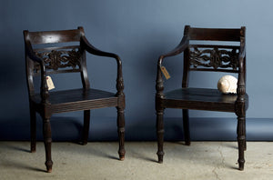 Pair of 19th Century Carved Back Raffles Chairs