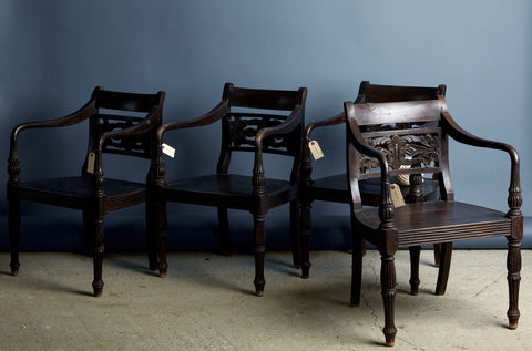 Set of 19th Century Carved Back Raffles Chairs